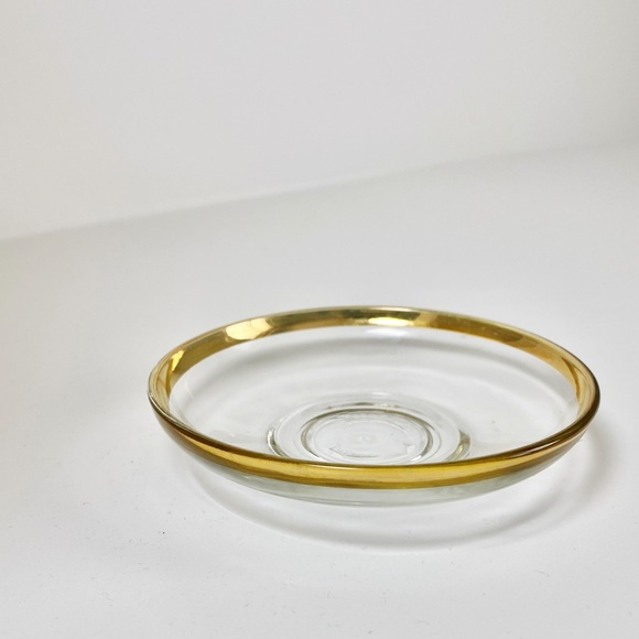 VINTAGE THICK GLASS GOLD RIMMED DISH